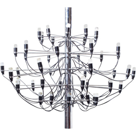 "Gino Sarfatti ""2097"" Chrome Chandelier"