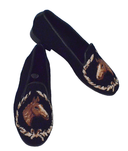 HANDMADE HORSE NEEDLEPOINT LOAFERS