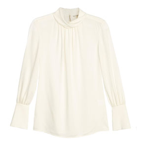 Nordstrom Signature and Caroline Issa Twill silk shirred detail blouse
