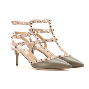 valentino Rockstud leather kitten-heel pump