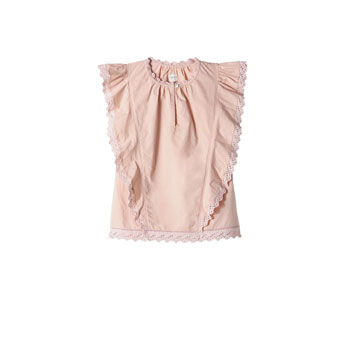 Sleeveless poplin lace top